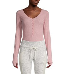 free people women's dylan thermal bodysuit - pink - size s