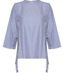 camisa carla lazos cuadros mini azul celeste varini