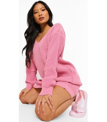 petite mini trui jurk met v-hals, blush