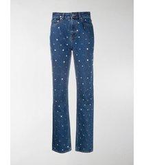 ganni straight-leg studded denim jeans