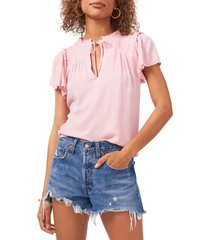 1.state 1. state tie front flutter sleeve gauze top, size xx-small in magnolia pink at nordstrom