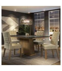 conjunto sala de jantar madesa grazi mesa tampo de vidro com 4 cadeiras rustic/preto/imperial