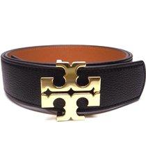 "new tory burch 1.5"" black tigers eye brown leather reversible logo belt"