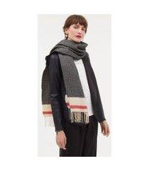 cachecol lisa com detalhe na barra e franjas | accessories | multicores | u