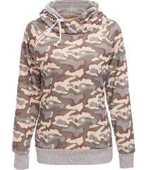 stylish long sleeve hooded camo print women's pullover hoodie