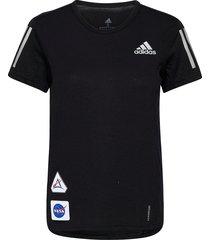 run it space race soft t-shirt w t-shirts & tops short-sleeved svart adidas performance