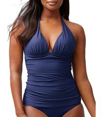 tommy bahama women's halter-neck tankini top - navy - size xs