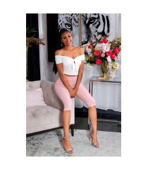 trendy capri-driekwarts leggings met decoratieve knopen roze