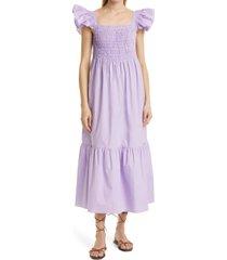 women's sea varsha smocked maxi dress, size medium - purple