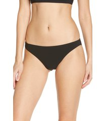 women's tory burch solid hipster bikini bottoms, size large - black
