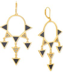 steve madden gold-tone pave triangle-decorated statement earrings