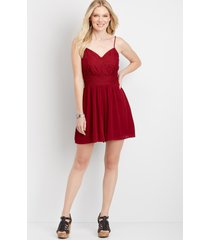 maurices womens red lace top romper