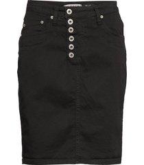 sl cotton knälång kjol svart please jeans