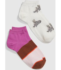 lane bryant women's 2-pack ankle socks - cheetah & stripe onesz pantone vanilla cream