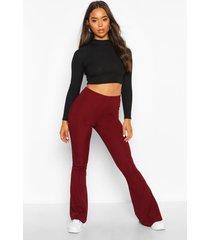 basic geribbelde skinny fit broek met hoge taille en wijd uitlopende pijpen, berry
