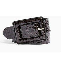 brown patent crocodile print belt - chocolate
