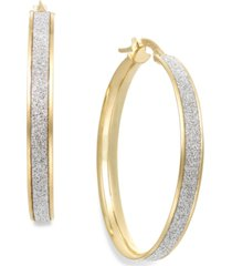 italian gold glitter hoop earrings in 14k gold (30mm)