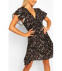 bloemenprint jurk met ceintuur en engelenmouwen, zwart