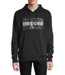 roberto cavalli men's logo cotton-blend hoodie - black - size xl