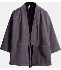 giacca casual vintage da uomo in morbido cotone a 3/4 maniche e maniche traspiranti