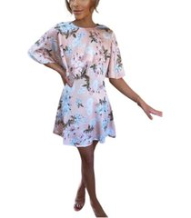 ax paris floral print flute sleeve dress