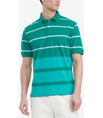 tommy hilfiger men's classic-fit th luxe sarazen colorblocked stripe polo shirt