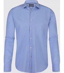 blue industry heren overhemd max poplin semi spread boord