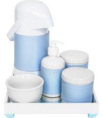kit higiene espelho completo porcelanas, garrafa e capa azul quarto beb㪠menino - azul - menino - dafiti