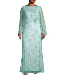 embroidered lace cape gown