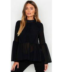 geweven gehaakte peplum blouse, zwart