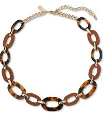 """inc gold-tone tortoise-look link statement necklace, 19"""" + 3"""" extender, created for macy's"""