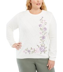 alfred dunner plus size loire valley floral-embroidered chenille sweater