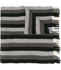 issey miyake men striped scarf - black