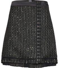 sparkle boucle skirt kort kjol grå karl lagerfeld