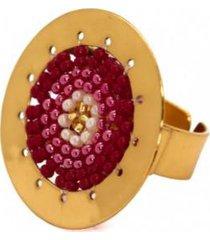 anillo imperial baño oro tejido rojo/perlado bijulovers