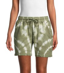 nicole miller women's tie-dyed cotton shorts - olive - size l