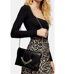 panther chain clutch bag - black