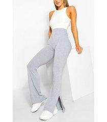 basic broek met wijd uitlopende pijpen en split, grijs