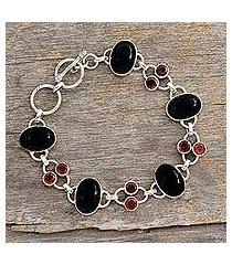 onyx and garnet link bracelet, 'festive night' (india)
