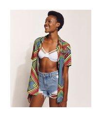 camisa feminina hype beachwear longa estampada olho estrelado manga curta multicor