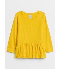 polera túnica manga larga sólida amarillo gap