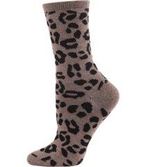 leopard animal print cashmere women's crew socks