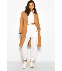 luxe getailleerde jas met geborstelde wollook, kameel