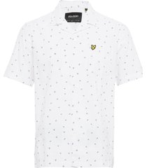 printed resort shirt overhemd met korte mouwen wit lyle & scott