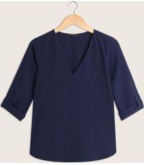 blusa unicolor manga 3/4-l