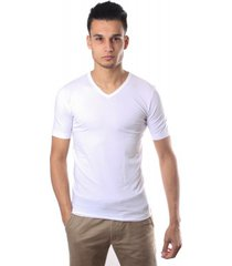 schiesser men stretch t-shirt v-neck white