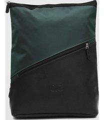 mochila alto giro bicolor preto/verde