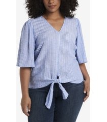 1.state trendy plus size tie front v-neck top