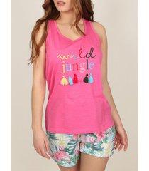 pyjama's / nachthemden admas pyjama shorts tank top wild jungle roze
