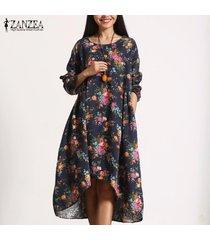zanzea floral de las mujeres de la vendimia de manga larga floja ocasional mediodía vestido de las señoras de kaftan -azul marino